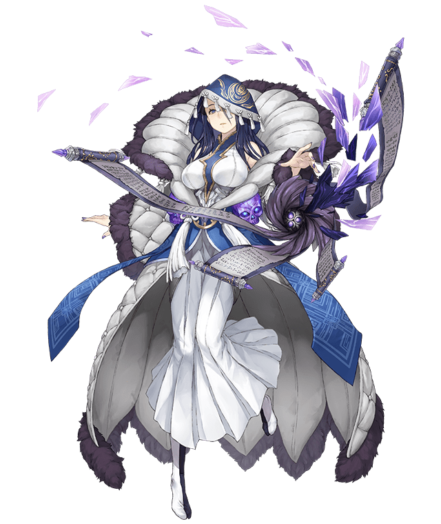 1girl bare_shoulders black_hair blue_eyes breasts dress expressionless full_body fur_trim hood ji_no kaguya_hime_(sinoalice) large_breasts long_hair looking_at_viewer nail_polish official_art scroll sinoalice skull solo transparent_background white_dress