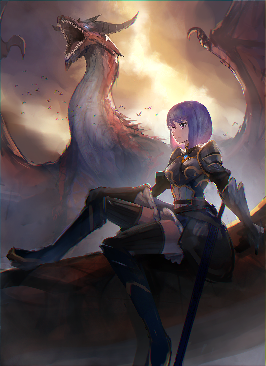 1girl armor backlighting bird bob_cut breastplate dark dragon dress fantasy flock frown gauntlets hand_on_own_knee highres original petticoat profile purple_hair red_eyes roaring serious short_hair shoulder_armor sitting sky solo spaulders sword thigh-highs volvox819 weapon zettai_ryouiki