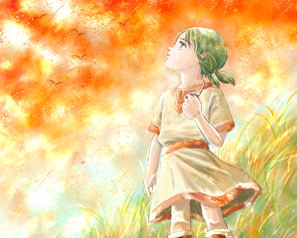 1girl bird child erin grass green_eyes green_hair jewelry kemono_no_souja_erin necklace orange_sky outdoors short_sleeves short_twintails skirt sky solo standing sunset twintails yukki_(rffcq251)