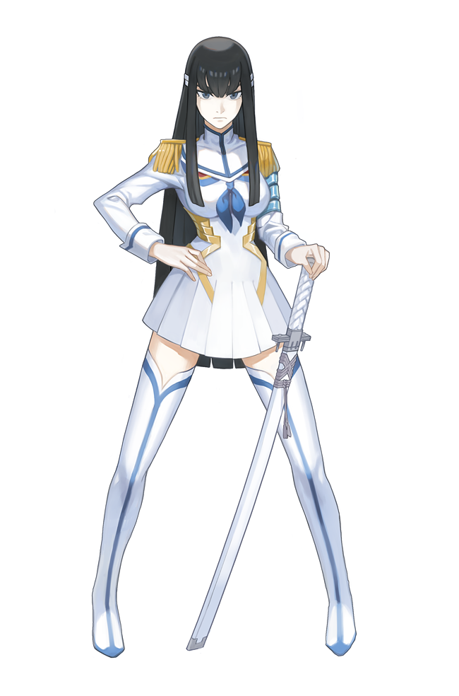 1girl bakuzan bangs black_hair boots closed_mouth cocoroeng commentary_request epaulettes full_body grey_eyes hair_ornament hand_on_hip high_collar holding holding_sword holding_weapon junketsu kamui_(kill_la_kill) katana kill_la_kill kiryuuin_satsuki long_hair sheath sheathed sidelocks simple_background sword thigh-highs thigh_boots very_long_hair weapon white_background white_footwear