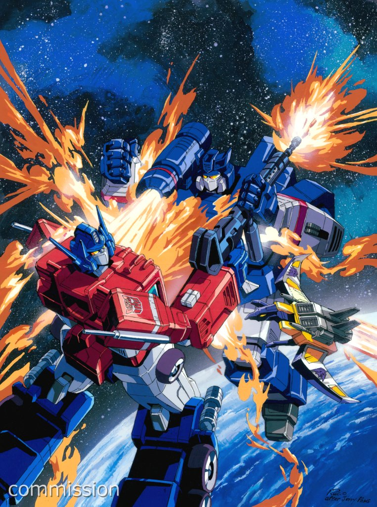 autobot blue_eyes cannon commission decepticon fighting fire looking_to_the_side marble-v mecha no_humans optimus_prime planet shoulder_cannon soundwave space transformers visor watermark