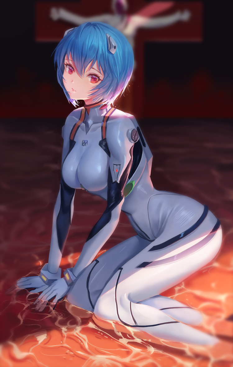 1girl ayanami_rei bangs blue_eyes blue_hair blurry blurry_background bodysuit breasts closed_mouth commentary_request cross crucifixion depth_of_field dongfangzhong111 feet_out_of_frame hair_ornament looking_at_viewer medium_breasts neon_genesis_evangelion partially_submerged pilot_suit plugsuit red_eyes short_hair skin_tight solo_focus water white_bodysuit