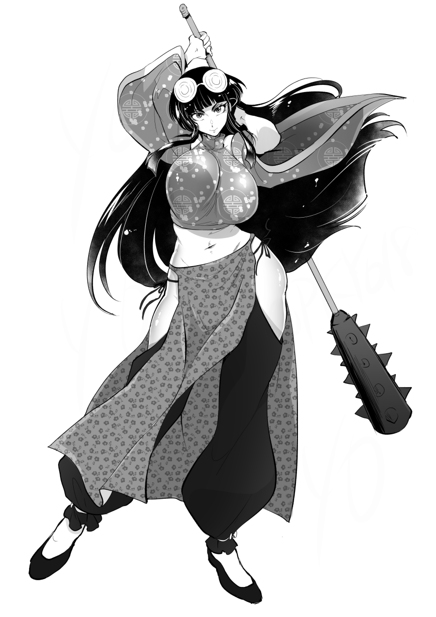 1girl arms_up bangs blunt_bangs breasts chinese_clothes club coke-bottle_glasses commentary_request contrapposto crop_top curvy detached_leggings eyewear_on_head flats floral_print full_body genderswap genderswap_(mtf) glasses greyscale high_contrast highres holding holding_weapon huge_breasts huge_weapon kanabou long_hair looking_at_viewer marimo_(yousei_ranbu) midriff monochrome mousse navel panties pelvic_curtain ranma_1/2 round_eyewear side-tie_panties solo spiked_club standing underwear weapon weapon_on_back wide_sleeves