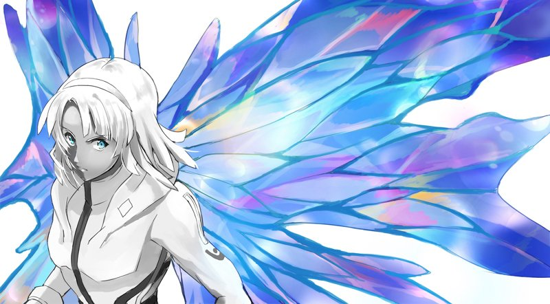 1boy blue_eyes c_c dark_skin energy_wings gundam headband long_hair looking_to_the_side loran_cehack moonlight_butterfly pilot_suit solo spot_color turn_a_gundam turn_a_gundam_(mobile_suit) white_hair