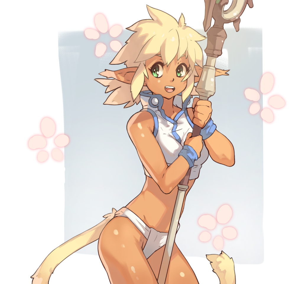 1girl :d bare_shoulders blue_eyes bright_pupils cat_tail commentary cowboy_shot english_commentary fam fundoshi hikyou_tanken_fam_&_ihrie holding holding_staff japanese_clothes looking_at_viewer open_mouth pointy_ears smile solo staff standing tail vins-mousseux white_pupils wristband
