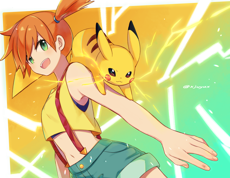 1girl artist_name bangs commentary_request electricity eyelashes fingernails gen_1_pokemon green_eyes hair_tie jiyuu_(xjuyux) kasumi_(pokemon) looking_to_the_side open_mouth orange_hair pikachu pokemon pokemon_(anime) pokemon_(classic_anime) pokemon_(creature) pokemon_on_arm short_hair shorts side_ponytail suspender_shorts suspenders tank_top teeth tied_hair tongue upper_teeth yellow_tank_top