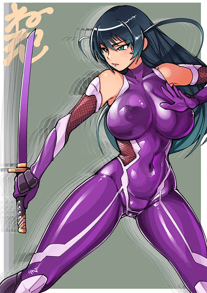 1girl afterimage bare_shoulders black_hair blue_eyes bodysuit breasts covered_navel covered_nipples elbow_gloves fishnet_gloves fishnets gloves holding holding_sword holding_weapon igawa_asagi long_hair neone solo sword taimanin_(series) taimanin_asagi weapon