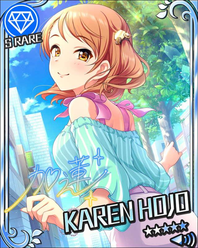 blush brown_eyes brown_hair character_name dress houjou_karen idolmaster idolmaster_cinderella_girls short_hair smile stars