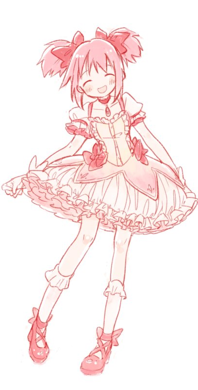 1girl :d ^_^ ankle_ribbon ankle_strap arms_at_sides blush breasts bubble_skirt choker clenched_hand closed_eyes collarbone contrapposto cross-laced_footwear facing_viewer frilled_legwear frilled_skirt frilled_sleeves frills full_body gloves hair_ribbon happy kaname_madoka knee_blush legs_apart mahou_shoujo_madoka_magica no_nose ogi_(sham00) open_mouth outline pale_color pink_hair pink_theme puffy_short_sleeves puffy_sleeves red_choker red_neckwear red_ribbon ribbon shiny shiny_hair shiny_skin short_sleeves short_twintails sidelocks simple_background skirt small_breasts smile socks solo soul_gem too_many too_many_frills twintails white_background white_gloves white_legwear