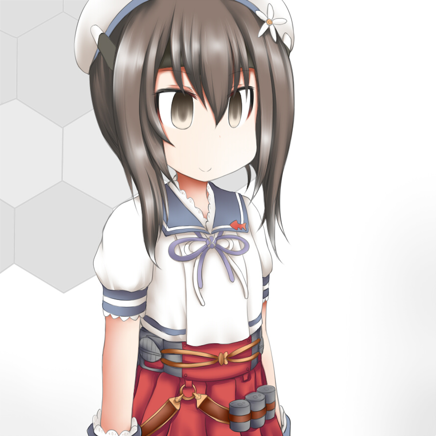 1girl blue_sailor_collar brown_eyes brown_hair commentary_request cosplay depth_charge empty_eyes flat_chest flower gloves hair_flower hair_ornament honeycomb_(pattern) honeycomb_background kantai_collection ouno_(nounai_disintegration) pleated_skirt puffy_short_sleeves puffy_sleeves red_skirt sailor_collar sailor_shirt shirt short_sleeves skirt solo taihou_(kantai_collection) white_background white_gloves yashiro_(kantai_collection) yashiro_(kantai_collection)_(cosplay)