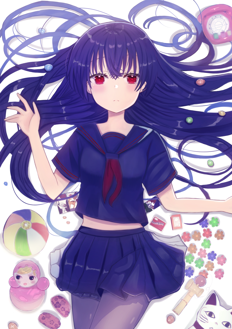 1girl arm_up ball bangs black_hair blue_sailor_collar blue_serafuku blue_skirt breasts card commentary_request cowboy_shot doll flower from_above grey_legwear hair_spread_out kendama light_blush light_frown long_hair looking_at_viewer lying maneki-neko midriff_peek miniskirt neckerchief nibosi on_back original pantyhose phone playing_card pleated_skirt red_eyes red_neckwear rotary_phone sailor_collar school_uniform serafuku short_sleeves simple_background skirt small_breasts solo toy white_background