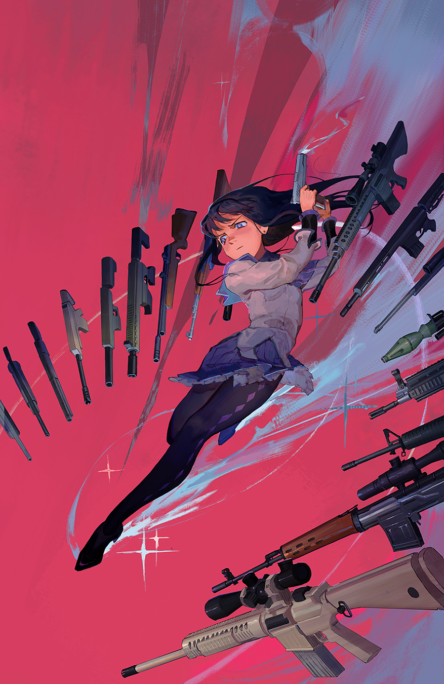 1girl ak-47 akemi_homura ar-15 assault_rifle black_footwear black_hair black_legwear blue_skirt check_weapon commentary_request dragunov_svd earrings floating floating_weapon fn_scar fn_scar_17 gun handgun high_heels highres holding holding_gun holding_weapon jewelry long_hair m16 m16a2 magical_girl mahou_shoujo_madoka_magica pixiescout rifle school_uniform skirt smoke sniper_rifle solo sparkle sr-25 suppressor violet_eyes weapon weapon_request