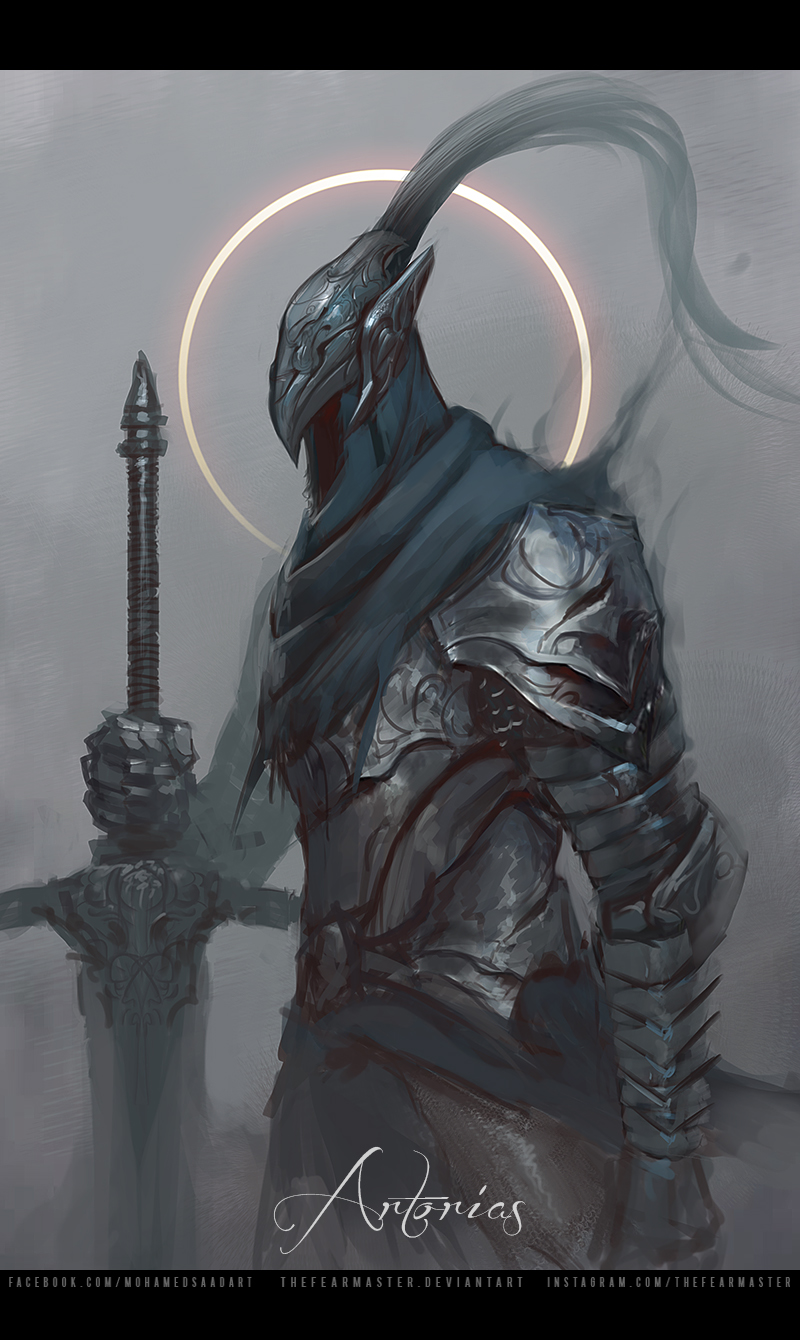 1boy armor artorias_the_abysswalker breastplate character_name cowboy_shot dark_souls eclipse faceless fog from_side gauntlets greatsword helmet highres holding holding_weapon hood knight letterboxed male_focus moon pauldrons planted_sword planted_weapon plume shoulder_armor solar_eclipse solo souls_(from_software) sun sword thefearmaster watermark weapon web_address