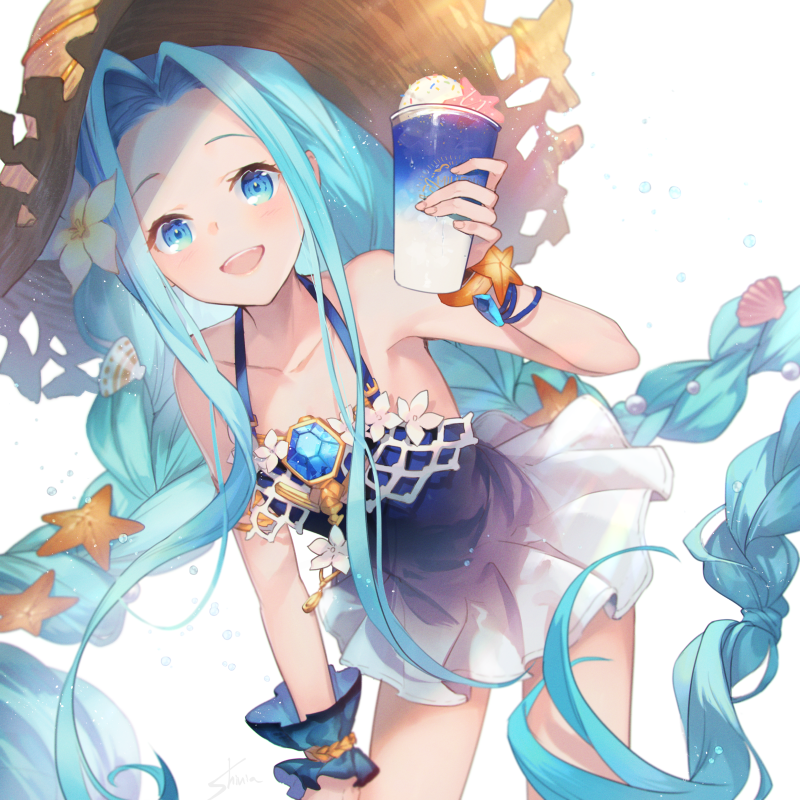 1girl :d bangs bare_shoulders blue_dress blue_eyes blue_hair braid brown_headwear collarbone commentary_request cup dress flower food forehead granblue_fantasy hair_flower hair_ornament hat holding holding_cup ice_cream ice_cream_float leaning_forward long_hair looking_at_viewer lyria_(granblue_fantasy) open_mouth parted_bangs seashell_hair_ornament shinia single_wrist_cuff sleeveless sleeveless_dress smile solo starfish starfish_hair_ornament straw_hat twin_braids upper_teeth very_long_hair white_background white_flower wrist_cuffs