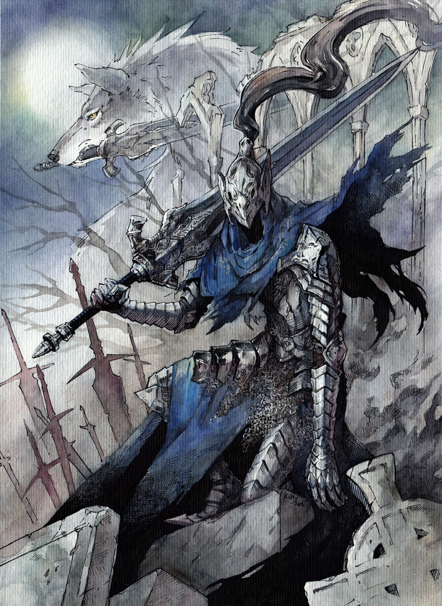 1boy animal arm_at_side armor arms_at_sides artorias_the_abysswalker bare_tree blue_capelet breastplate capelet dark_souls english_commentary faceless facing_viewer fantasy faulds field_of_blades fog full_armor gauntlets graveyard great_grey_wolf_sif greatsword greaves grey_wolf helmet highres holding holding_sword holding_weapon hood knight kutty_sark leg_armor moon mouth_hold night one_knee outdoors over_shoulder pauldrons planted_sword planted_weapon plate_armor plume profile shoulder_armor souls_(from_software) sword tombstone traditional_media tree watercolor_(medium) weapon wolf