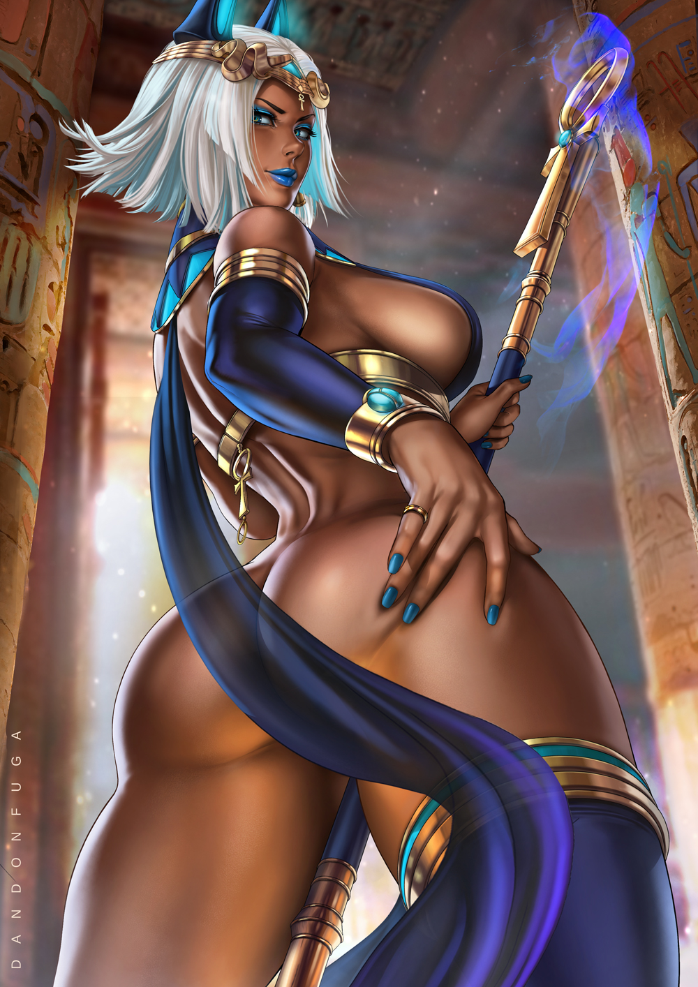 1girl ass blue_eyes blue_hair breasts dandon_fuga dark_skin egyptian_clothes highres jewelry large_breasts light_smile looking_at_viewer looking_back looking_down original parted_lips short_hair sideboob solo spread_ass staff thong
