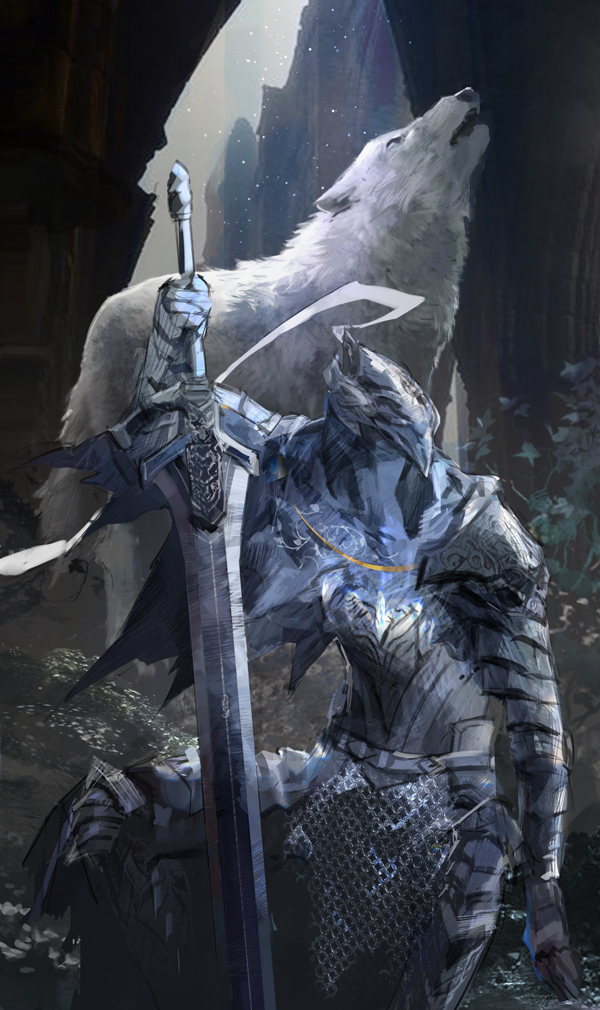 1boy animal arm_at_side arm_up armor armored_dress artorias_the_abysswalker breastplate dark_souls faceless faulds feet_out_of_frame gauntlets great_grey_wolf_sif greatsword greaves hand_on_hilt helmet holding holding_sword holding_weapon hood howling knight light_particles limiicirculate looking_away one_knee pauldrons planted_sword planted_weapon plume shoulder_armor souls_(from_software) sword weapon