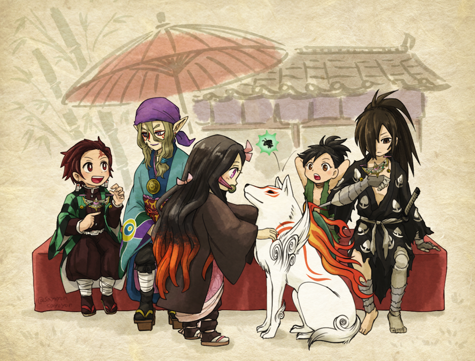 2girls 3boys amaterasu bandana barefoot black_hair blonde_hair bow dororo_(character) dororo_(tezuka) geta hair_bow hair_over_one_eye hyakkimaru_(dororo) japanese_clothes kamado_nezuko kamado_tanjirou kimetsu_no_yaiba kimono kusuriuri_(mononoke) long_hair long_sleeves mononoke multicolored_hair multiple_boys multiple_girls ookami_(game) open_mouth orange_hair pink_bow pointy_ears ponytail purple_bandana sandals sayoyonsayoyo short_hair sitting sword two-tone_hair weapon wide_sleeves wolf