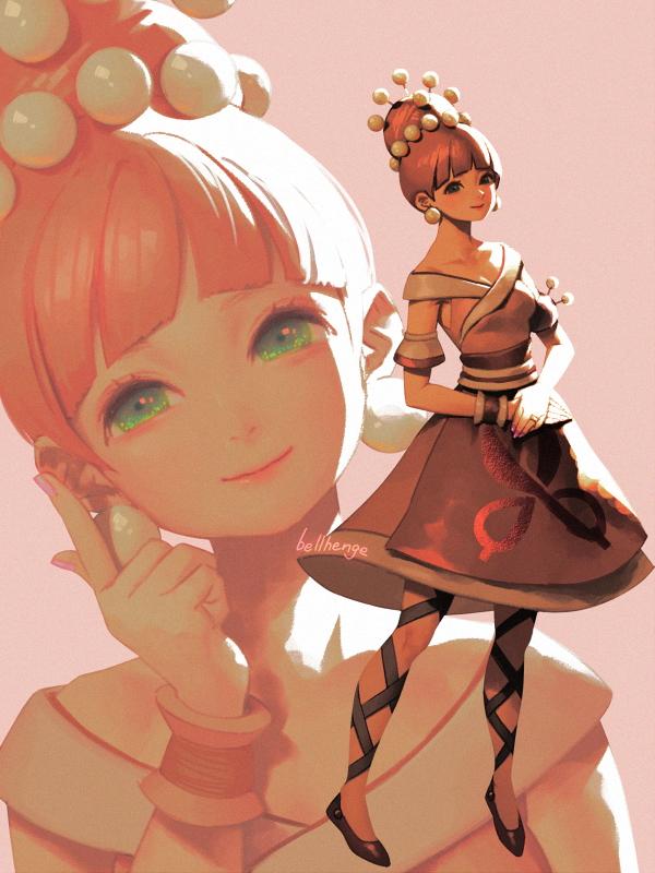 1girl bellhenge dress earrings green_eyes hair_bun hands_together honey_(ring_fit_adventure) jewelry looking_at_viewer multiple_views pink_dress pink_hair ring_fit_adventure solo