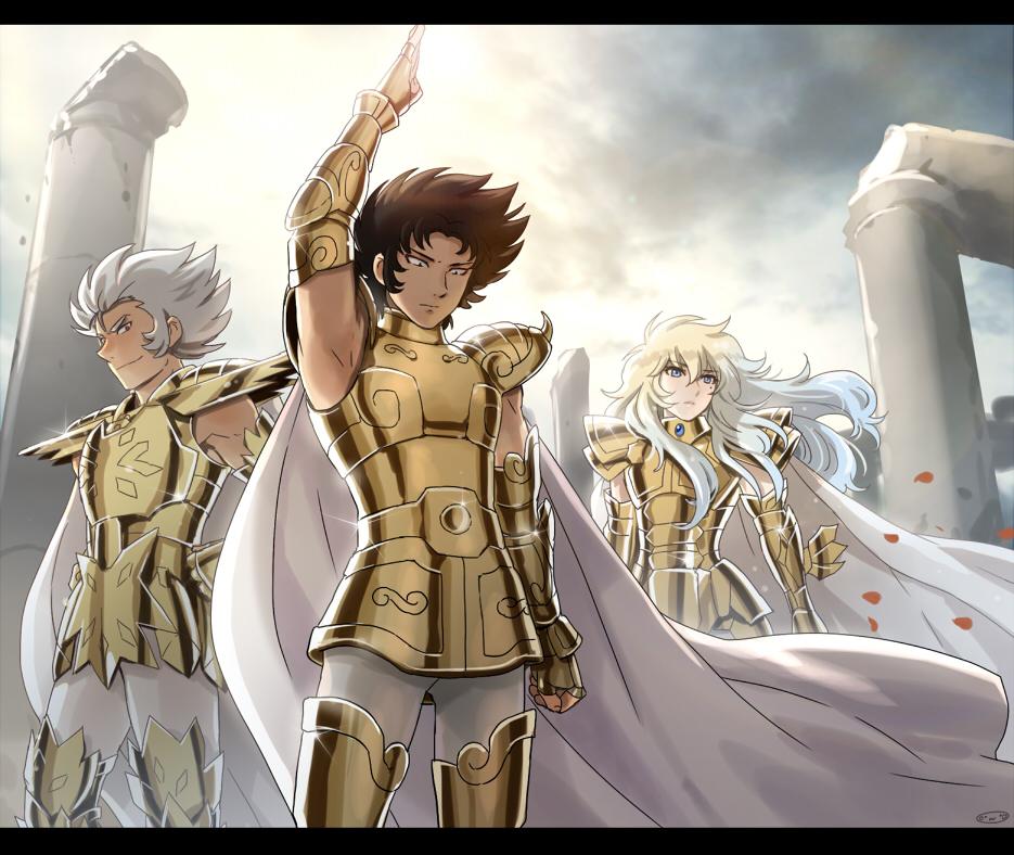 3boys armor cancer_deathmask capricorn_shura golden_armor highres male mizuhara_aki pisces_aphrodite posing saint_seiya