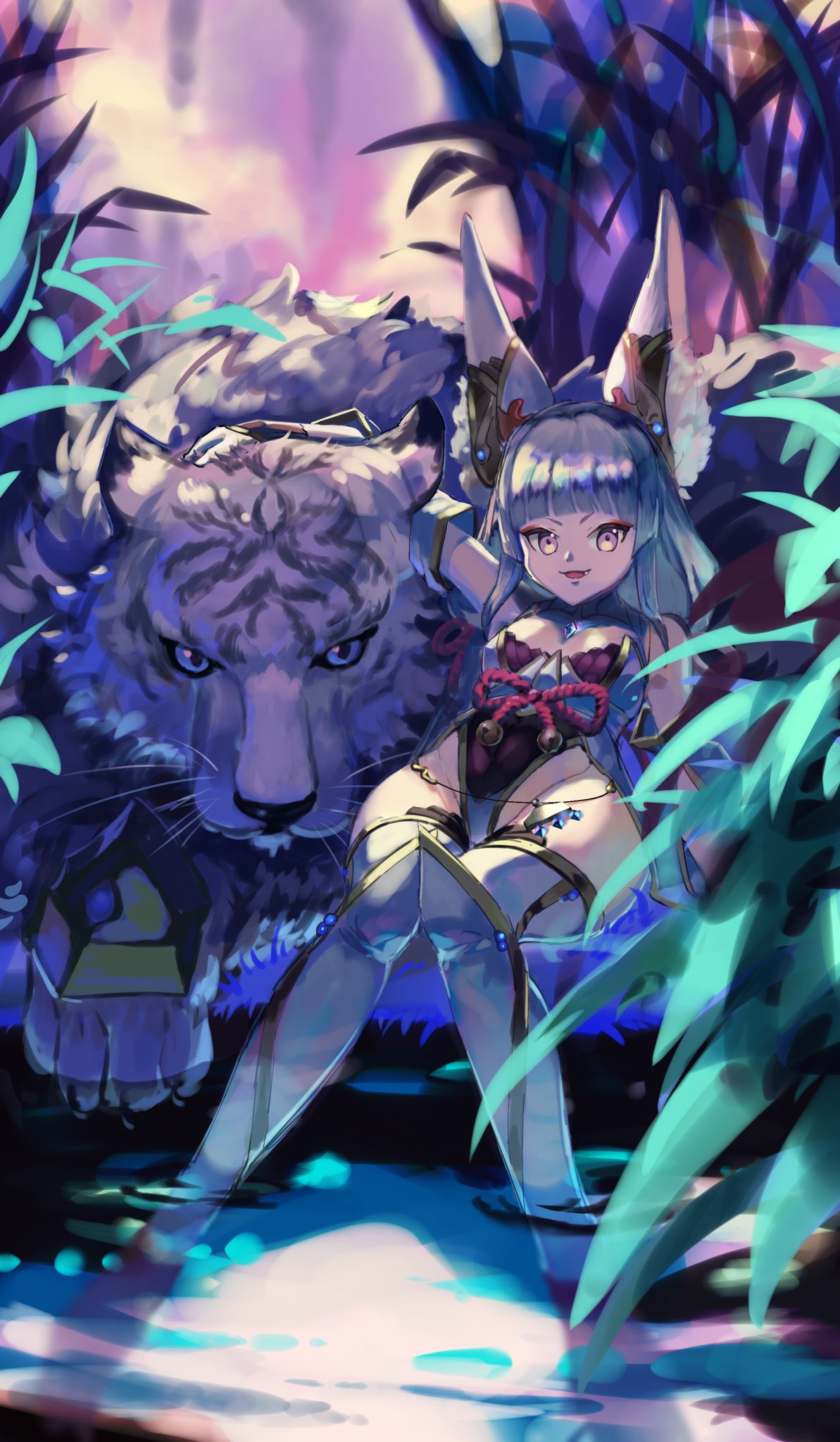 1girl animal_ears bangs bare_shoulders blunt_bangs breasts byakko_(xenoblade) detached_sleeves fang highleg highleg_leotard highres leotard night niyah niyah_(blade) outdoors pito_(pitosan) plant silver_hair small_breasts soaking_feet thigh-highs tiger white_tiger xenoblade_(series) xenoblade_2