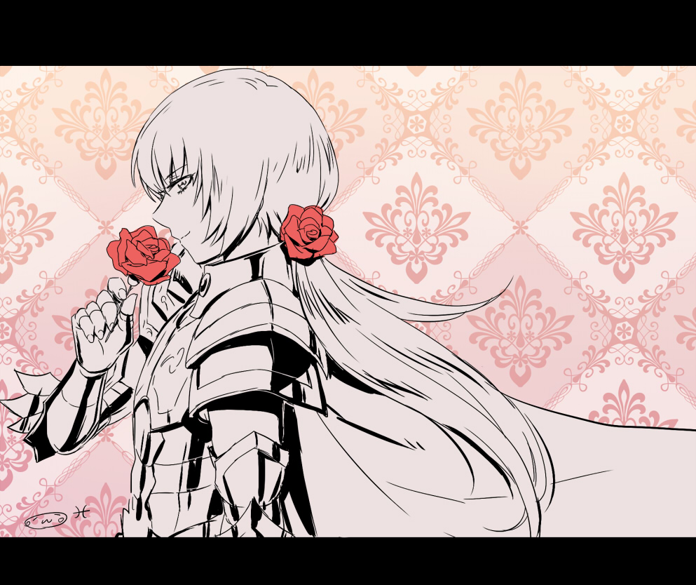 1boy armor cape fingerless_gloves flower_hair_ornament highres looking_at_viewer looking_to_the_side male mizuhara_aki pisces_cardinale rose saint_seiya saint_seiya:_next_dimension smelling_flower tied_hair