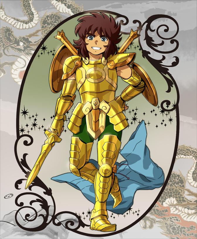 1boy armor golden_armor highres libra_dohko male mizuhara_aki posing saint_seiya solo