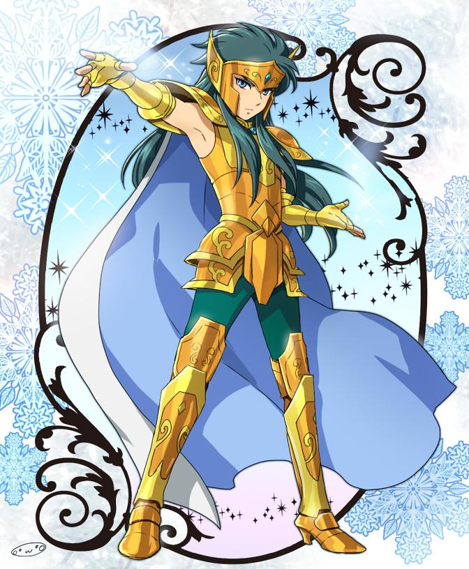 1boy aquarius_camus armor golden_armor highres male mizuhara_aki posing saint_seiya solo