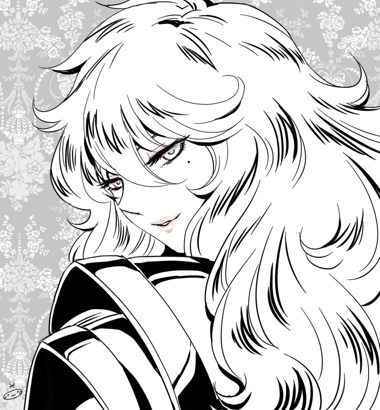 1boy androgynous armor eyelashes highres lipstick long_hair looking_at_viewer looking_back male mizuhara_aki mole mole_under_eye monochrome pisces_aphrodite portrait posing saint_seiya shoulder_pads smile