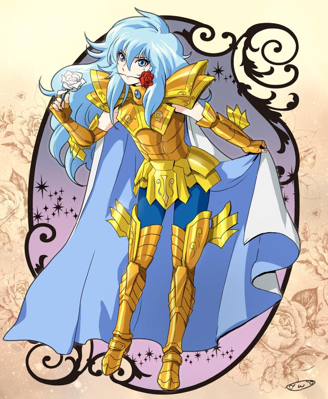 1boy armor golden_armor highres male mizuhara_aki pisces_aphrodite posing saint_seiya solo
