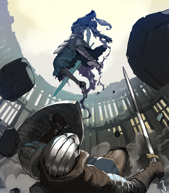 1boy 1other armor armored_dress artorias_the_abysswalker battle breastplate brown_capelet brown_gloves capelet chosen_undead commentary_request dark_souls debris dust_cloud faulds full_armor full_body gauntlets gloves greatsword greaves helmet holding holding_shield holding_sword holding_weapon hood jumping knight looking_at_another looking_up lying on_back on_floor outdoors pauldrons plume shield shoulder_armor sky souls_(from_software) sword tetuhei weapon