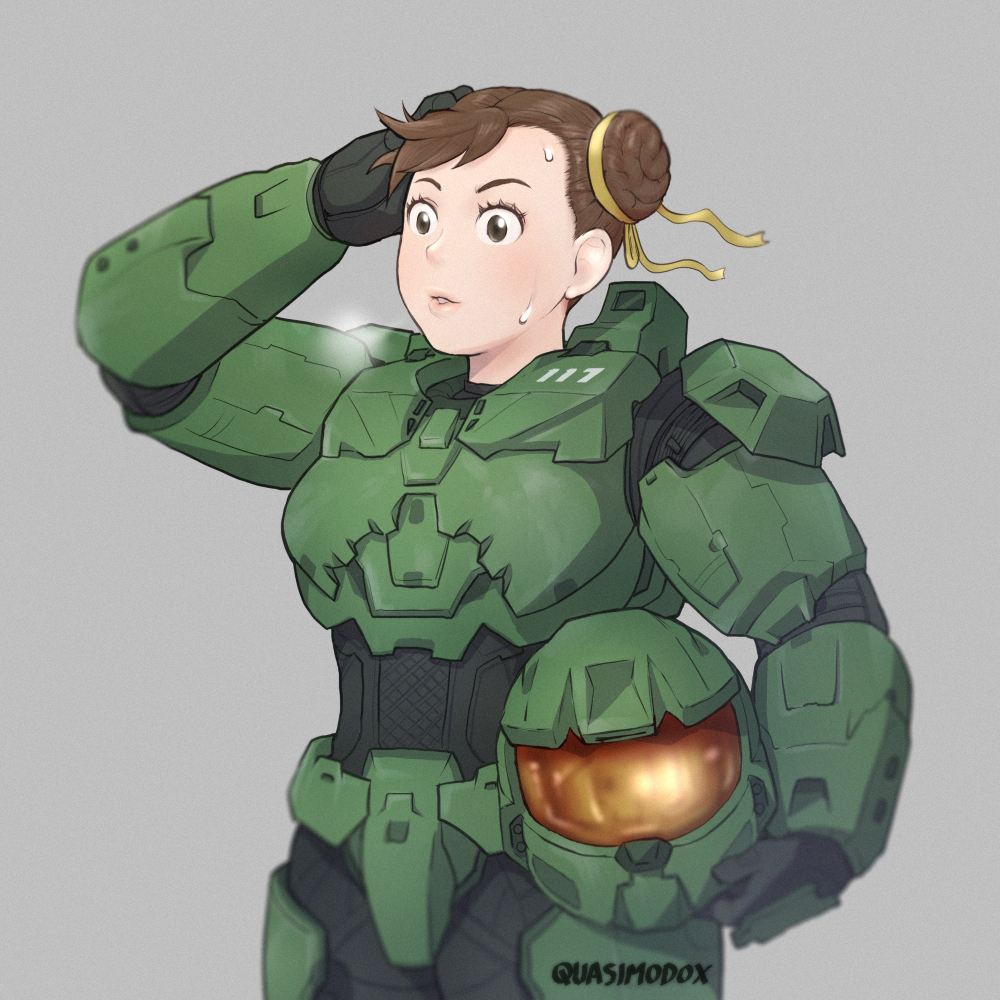 1girl brown_eyes brown_hair chun-li commentary cosplay double_bun english_commentary grey_background hair_ribbon halo_(game) headwear_removed heavy_breathing helmet helmet_removed master_chief master_chief_(cosplay) power_armor quasimodox ribbon short_hair solo street_fighter street_fighter_zero_(series) sweat