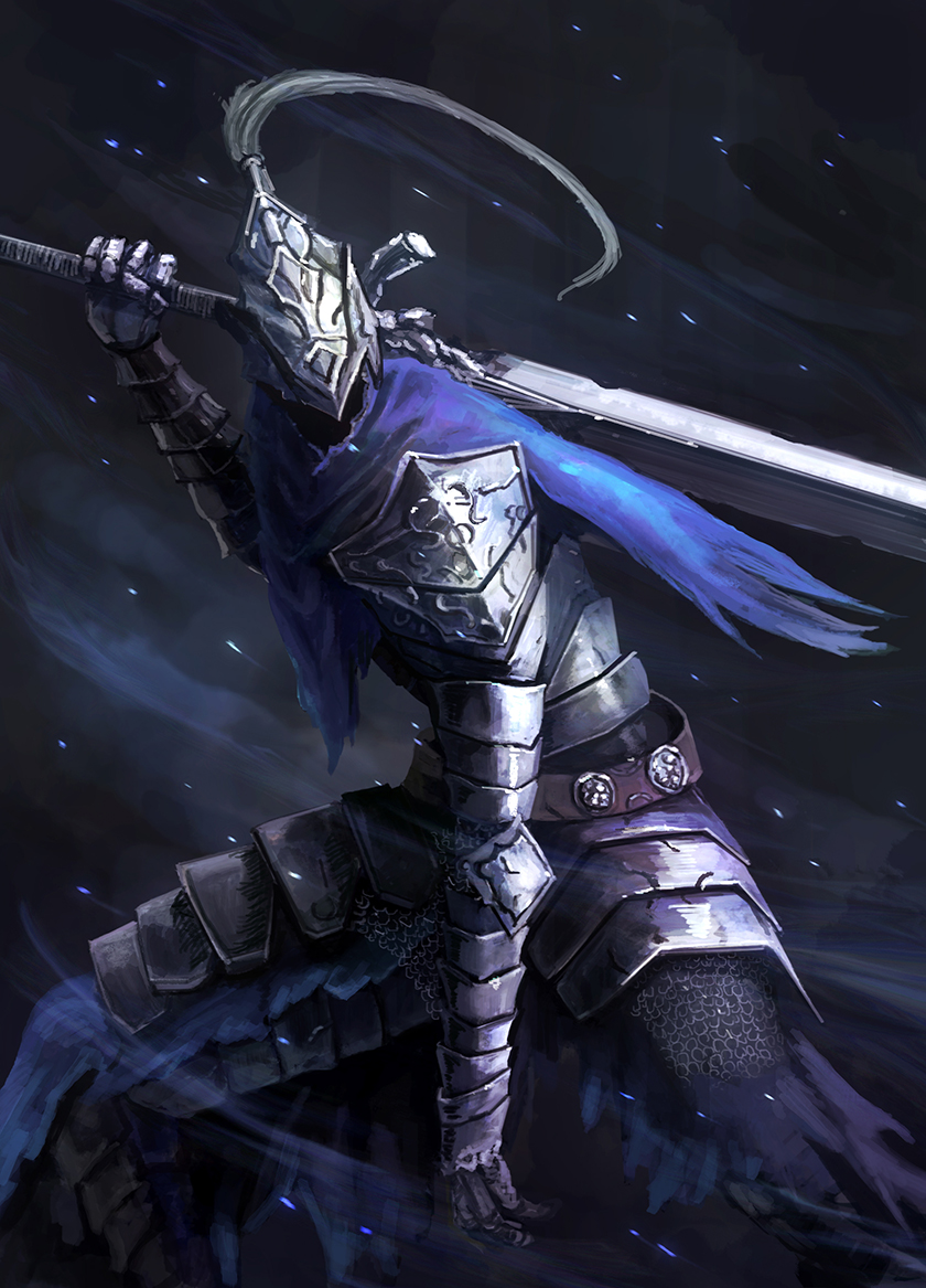 1boy armor artorias_the_abysswalker blue_cape cape dark_souls full_armor gauntlets grey_background helmet holding holding_sword holding_weapon knight male_focus over_shoulder pauldrons plume shoulder_armor solo souls_(from_software) standing sword torn_cape torn_clothes weapon yomanika0021