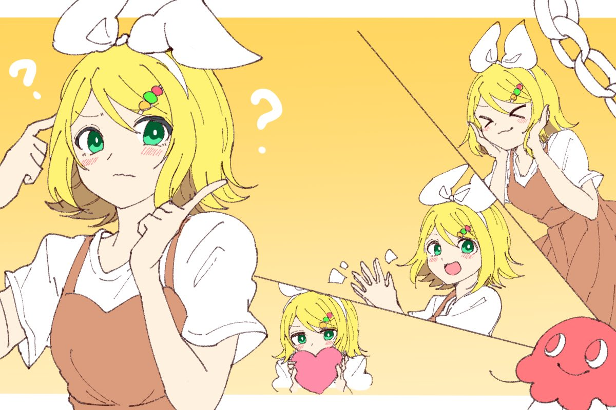 >_< 1girl ? beads beruna0612 blonde_hair blush bow brown_dress closed_eyes confused dress hair_beads hair_bow hair_ornament hands_on_own_cheeks hands_on_own_face hands_together heart holding holding_heart index_finger_raised kagamine_rin looking_at_viewer multiple_views open_mouth paper_chain scratching_head shirt short_sleeves smile solo tell_me_answer_(vocaloid) vocaloid white_bow white_shirt yellow_background