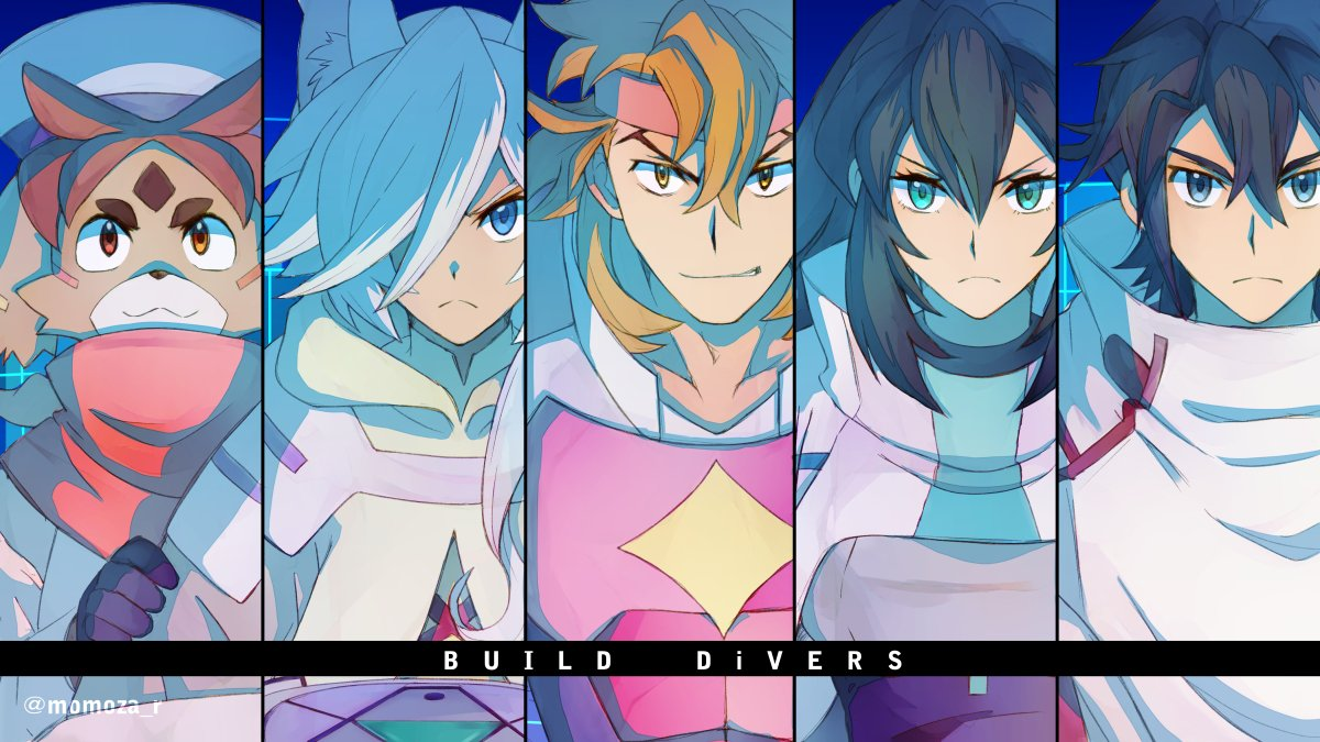 1girl 4boys animal_ears black_eyes black_hair blue_eyes blue_hair brown_eyes brown_hair freddie_(gundam_build_divers_re:rise) green_eyes gundam gundam_build_divers gundam_build_divers_re:rise hair_over_one_eye hat headband kuga_hiroto may_(gundam_build_divers_re:rise) momoza_r multiple_boys parviz_(gundam_build_divers_re:rise) poncho smile torimachi_kazami twitter_username