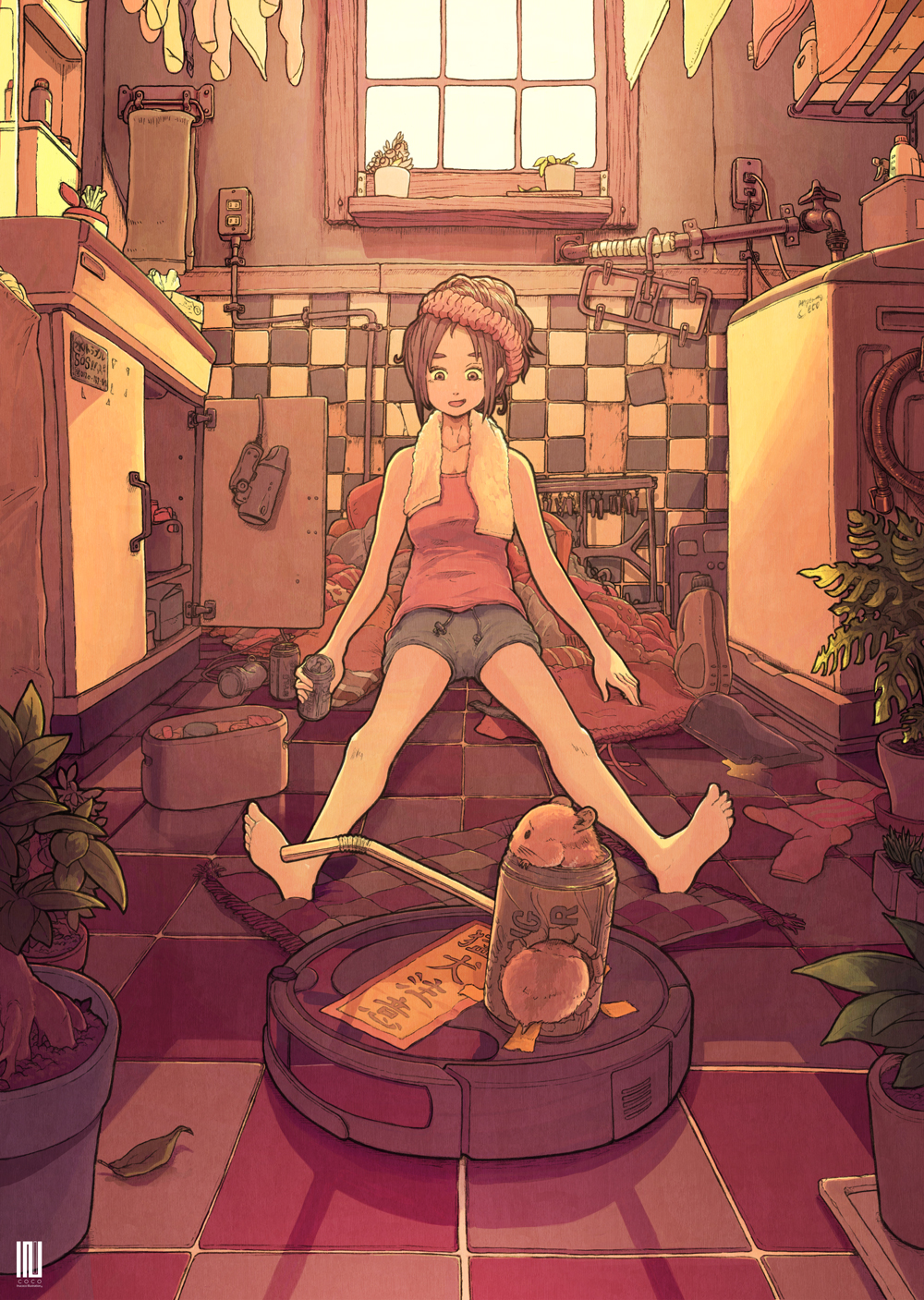 1girl bare_legs barefoot brown_eyes brown_hair cabinet can glowing grey_shorts highres holding holding_can inukoko leaf open_mouth original pink_tank_top pipe plant potted_plant reflection shorts sitting smile solo tank_top tile_floor tile_wall tiles towel wide_shot window
