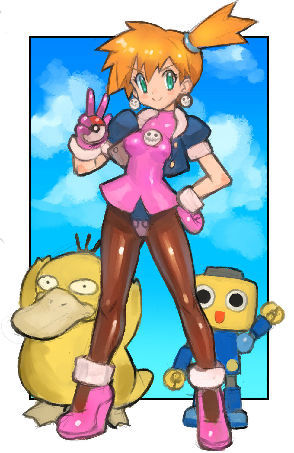 1girl black_eyes cosplay crossover dakusuta earrings gen_1_pokemon green_eyes highres holding holding_poke_ball iizuka_mayumi jewelry kasumi_(pokemon) kobun orange_hair pantyhose poke_ball poke_ball_(basic) pokemon pokemon_(creature) pokemon_(game) pokemon_rgby psyduck robot rockman rockman_dash seiyuu_connection tron_bonne tron_bonne_(cosplay) v waving