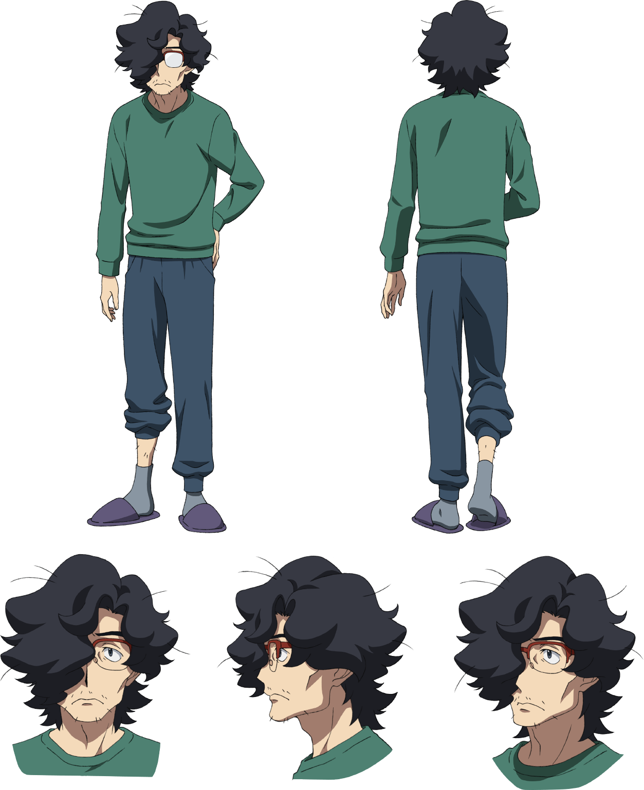 1boy black_hair character_sheet facial_hair glasses gundam gundam_build_divers gundam_build_divers_re:rise hair_over_one_eye hand_on_back highres kuga_osamu messy_hair multiple_views official_art stubble transparent_background