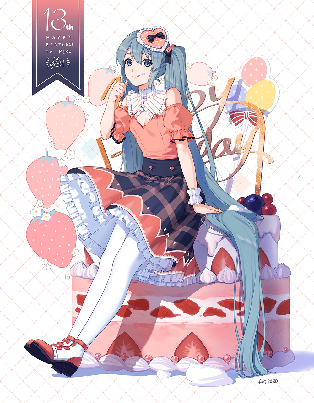 1girl :q arm_support black_bow black_skirt blue_eyes blue_hair bow brown_shirt brown_sleeves cake character_name chinese_commentary closed_mouth commentary detached_sleeves fen_renlei food food_on_face food_on_finger frilled_skirt frills fruit full_body hair_bow happy_birthday hatsune_miku heart highres long_hair pantyhose plaid plaid_skirt puffy_short_sleeves puffy_sleeves red_footwear shadow shirt shoes short_sleeves signature single_wrist_cuff sitting skirt sleeveless sleeveless_shirt smile solo strawberry tongue tongue_out twintails very_long_hair vocaloid white_background white_legwear wrist_cuffs