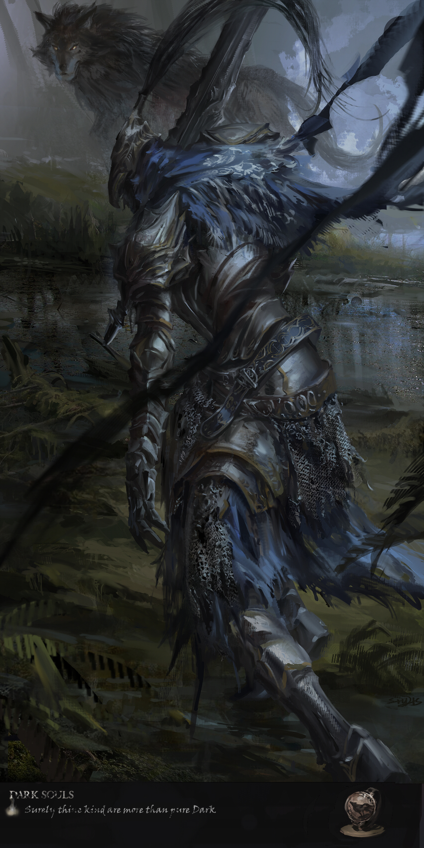 1boy animal arm_at_side armor artorias_the_abysswalker blue_capelet capelet copyright_name dark_souls english_text facing_away faulds full_armor full_body gauntlets great_grey_wolf_sif greatsword greaves helmet highres holding holding_sword holding_weapon hood knight leaning_forward looking_at_another male_focus outdoors over_shoulder pauldrons plume shoulder_armor souls_(from_software) standing stu_dts sword walking water weapon wolf yellow_eyes