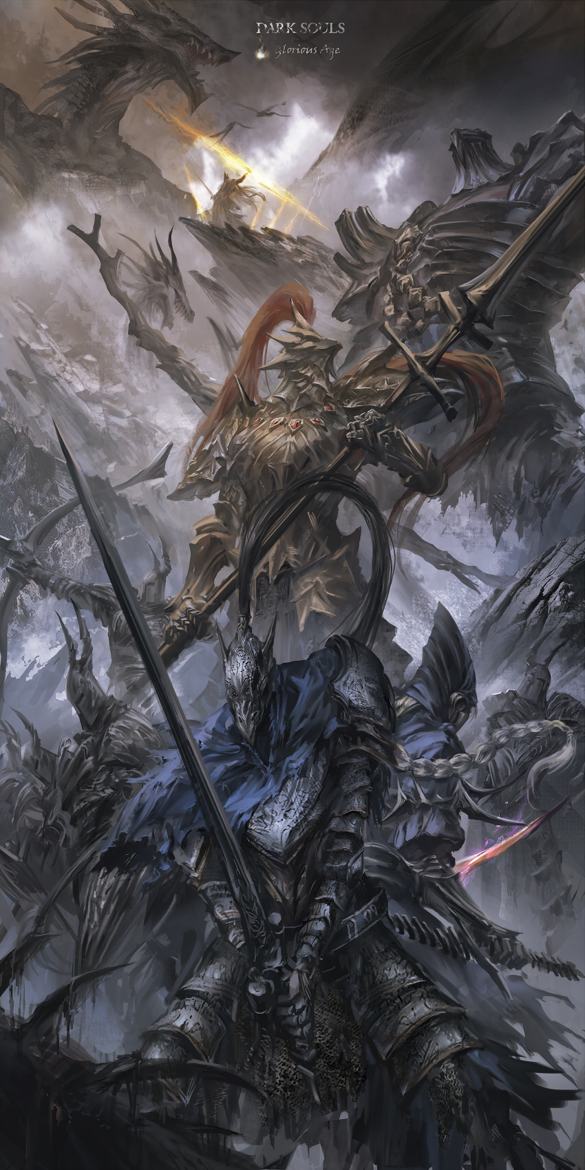 1girl 4boys 5others aiming armor artorias_the_abysswalker back-to-back battle blonde_hair blue_capelet bow_(weapon) braid breastplate capelet copyright_name crown dark_souls dragon dragon_slayer_ornstein dual_wielding electricity english_commentary english_text epic facing_away facing_viewer faulds fighting_stance flying full_armor gauntlets glowing glowing_weapon gold_armor gwyn_lord_of_cinder hawkeye_gough helmet highres holding holding_bow_(weapon) holding_spear holding_weapon hood horned_helmet knight looking_up lord's_blade_ciaran magic multiple_boys multiple_others open_mouth pauldrons plume polearm reverse_grip short_sword shoulder_armor silver_knight_(dark_souls) single_braid souls_(from_software) spear standing stu_dts sword teeth weapon