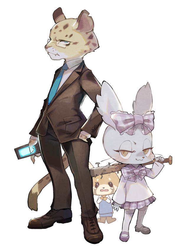 aggressive_retsuko animal animal_ears baseball_bat blue_eyes bow business_suit cellphone chinchilla_(animal) chinchilla_ears ear_clip formal furry glasses hair_ribbon hand_in_pocket hyodo_(aggresive_retsuko) idol idol_clothes leopard leopard_ears leopard_tail manaka_(aggressive_retsuko) miniskirt nail nail_bat nails necktie office_lady over_shoulder phone plaid plaid_skirt red_panda retsuko ribbon rikose rimless_eyewear shirt skirt smartphone suit tail thigh-highs weapon weapon_over_shoulder yellow_eyes