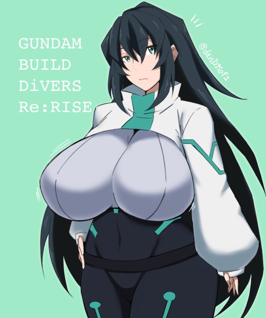 alternate_breast_size black_hair bodysuit breasts copyright_name covered_navel green_eyes gundam gundam_build_divers gundam_build_divers_re:rise hand_on_hip huge_breasts long_hair looking_to_the_side looking_up may_(gundam_build_divers_re:rise) shrug_(clothing) tomoki_(dais729sof)
