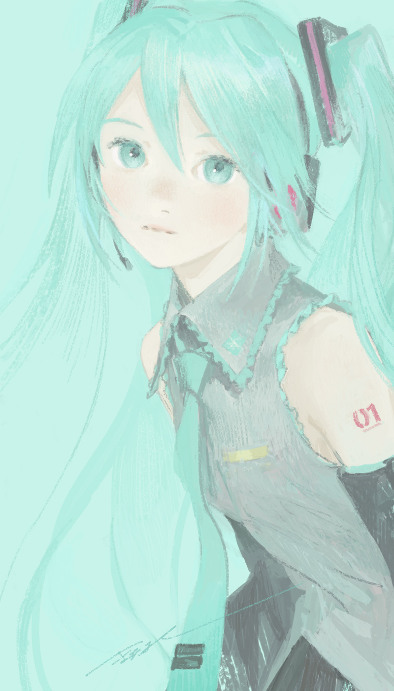 1girl aqua_background aqua_eyes aqua_hair aqua_neckwear bangs bare_shoulders blending closed_mouth commentary expressionless eyebrows frilled_shirt frilled_shirt_collar frills from_side grey_shirt hair_between_eyes hair_ornament hatsune_miku headphones headset highres long_hair looking_at_viewer looking_to_the_side matayoshi necktie shirt sidelocks signature simple_background sleeveless sleeveless_shirt solo twintails upper_body very_long_hair vocaloid wing_collar