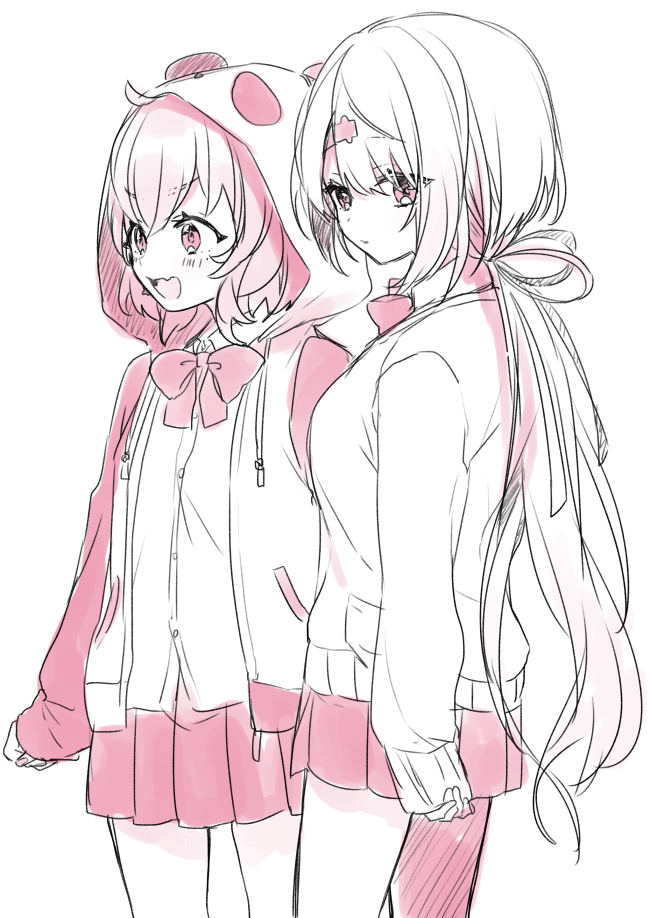 2girls :d ahoge animal_ears animal_hood bangs blush bow cardigan collared_shirt dress_shirt eyebrows_visible_through_hair fake_animal_ears fang hair_between_eyes hair_ornament hair_ribbon hairclip hood hood_up hooded_jacket jacket long_hair long_sleeves looking_at_viewer looking_away looking_to_the_side low_ponytail monochrome multiple_girls nijisanji open_mouth panda_ears panda_hood pleo ponytail ribbon sasaki_saku shiina_yuika shirt simple_background sleeves_past_wrists smile v-shaped_eyebrows very_long_hair virtual_youtuber white_background yamabukiiro