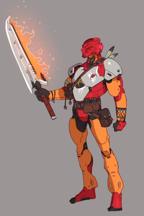 1boy bionicle clenched_hand flaming_sword flaming_weapon grey_background holding holding_sword holding_weapon looking_down redesign robot ruben_menzel solo standing sword tahu_(bionicle) the_lego_group weapon