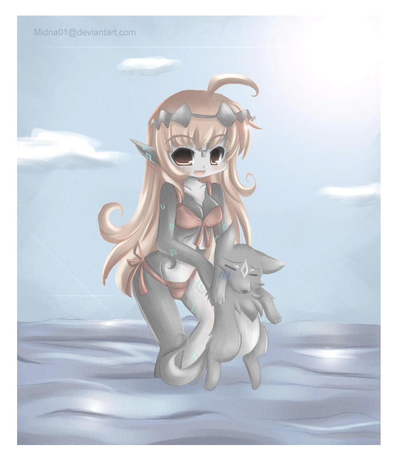 1girl 1other ahoge animal bikini blush clouds cute deviantart_username fang link mammal midna midna01 moe nintendo nintendo_ead outdoors pointy_ears red_bikini sky swimsuit the_legend_of_zelda the_legend_of_zelda:_twilight_princess water web_address wolf wolf_link