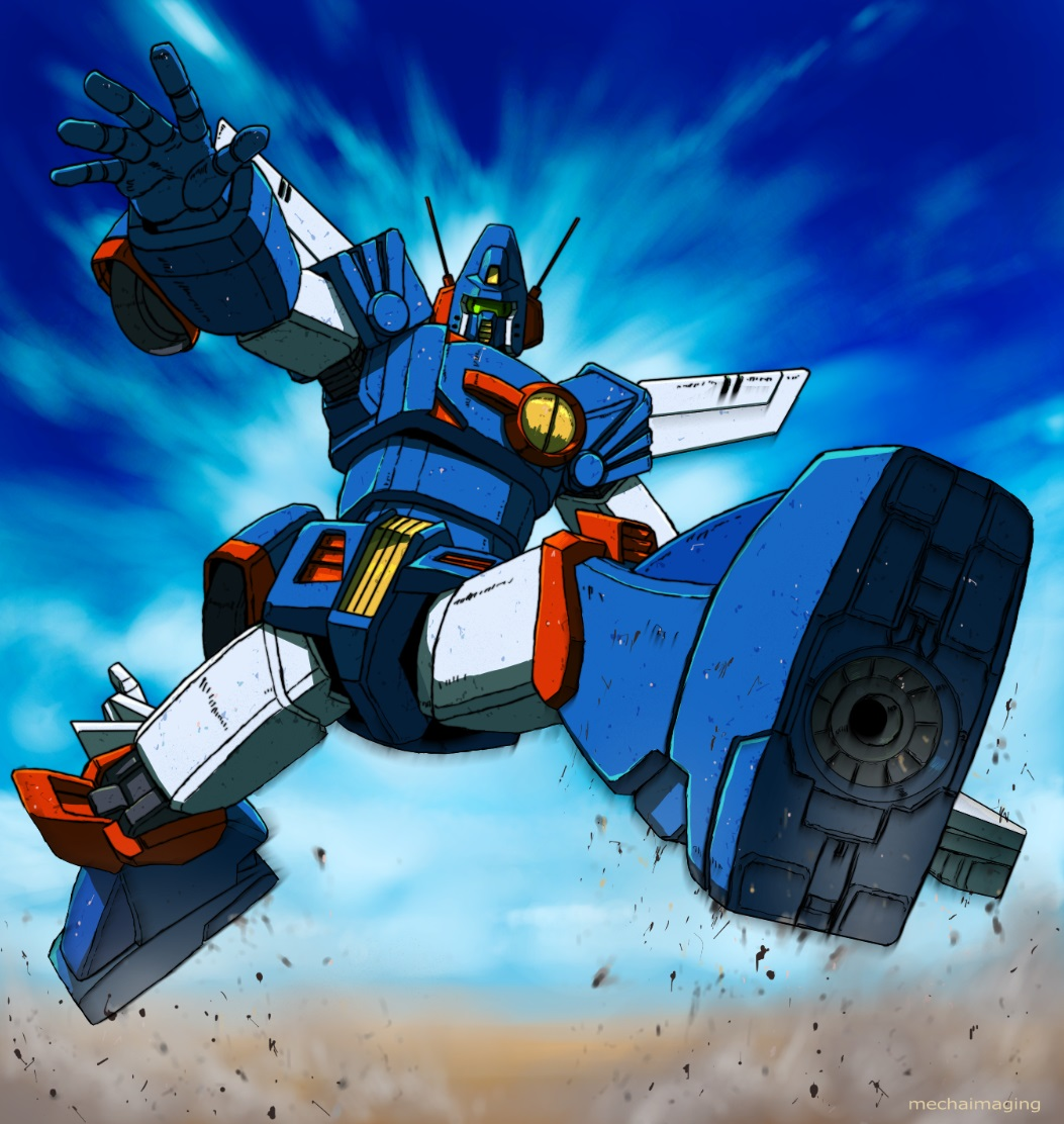 dust jumping looking_at_viewer mecha motion_blur no_humans open_hand sentou_mecha_xabungle sky solo visor xabungle_(mecha) yamada_yuuji