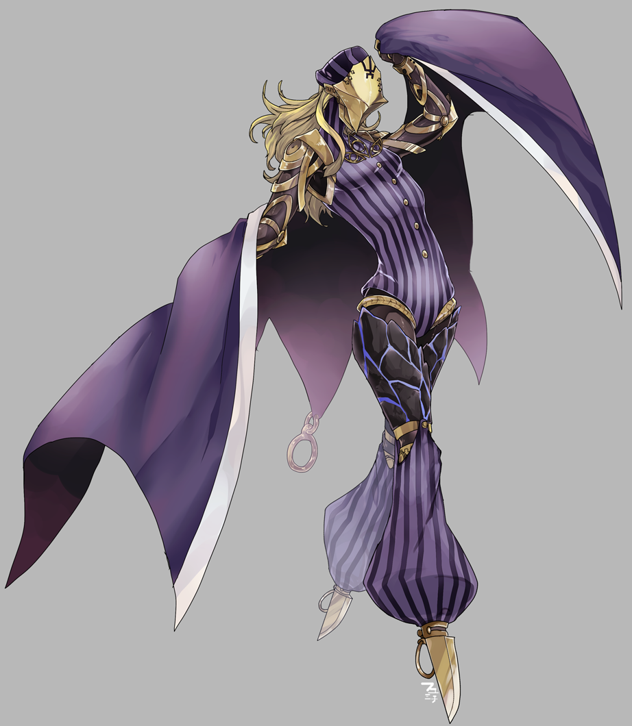 1boy android arm_guards armor avicebron_(fate) blonde_hair blue_cape bodysuit cape elbow_pads fabulous fate/apocrypha fate/grand_order fate_(series) fu_yukari full_body long_hair male_focus mask mechanical_legs shirt simple_background solo striped striped_legwear striped_shirt vertical-striped_legwear vertical-striped_shirt vertical_stripes