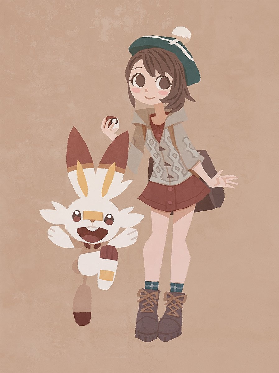 1girl backpack bag bangs blush_stickers boots brown_backpack brown_eyes brown_footwear brown_hair buttons cardigan collared_dress commentary_request dress gen_8_pokemon gloria_(pokemon) green_headwear green_legwear grey_cardigan happy hat highres holding holding_poke_ball hooded_cardigan hyogonosuke plaid plaid_legwear poke_ball poke_ball_(basic) pokemon pokemon_(creature) pokemon_(game) pokemon_swsh red_dress scorbunny short_hair smile socks swept_bangs tam_o'_shanter